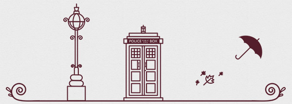 One of the header images from the WordCamp London website, including a police box, a lamp post, and an umbrella