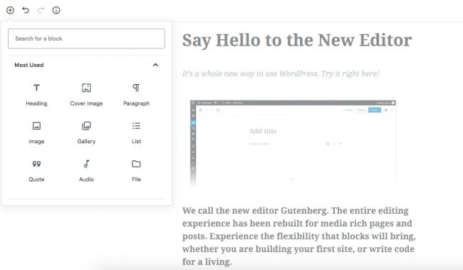 A screenshot of the new WordPress editor, Guttenberg