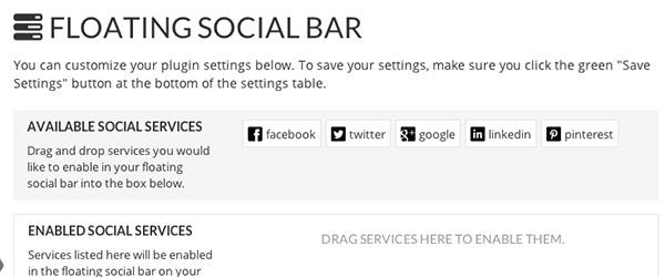 Screenshot of the Floating Social Bar WordPress plug-in