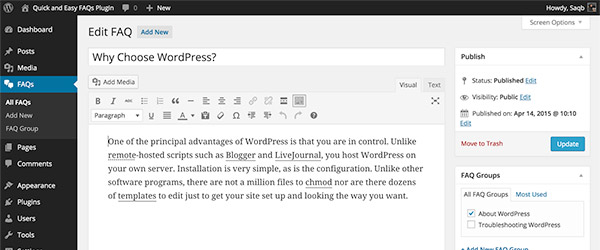 Screenshot of the Quick and Easy FAQs WordPress plug-in