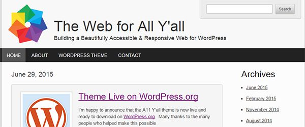 Screenshot of the A11 Y'all WordPress theme