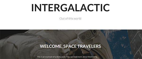 Screenshot of the Intergalactic WordPress theme