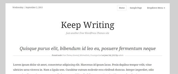 Screenshot of the Keep Writing WordPress theme