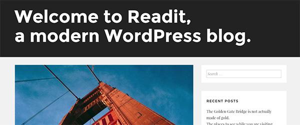 Screenshot of the Readit WordPress theme
