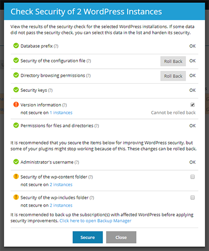 Security check within the WordPress Toolkit