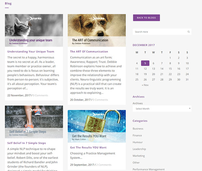 Screenshot of the Vet Dynamics' blog