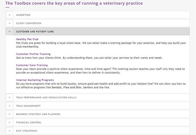 Screenshot of the Vet Dynamics' FAQ