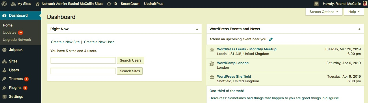 The WordPress multisite dashboard