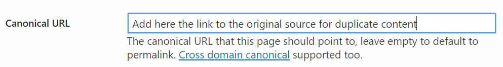 Screenshot of the canonical URL section in the Yoast plug-in
