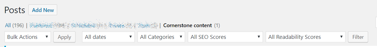 Screenshot of the WordPress Cornerstone Content section