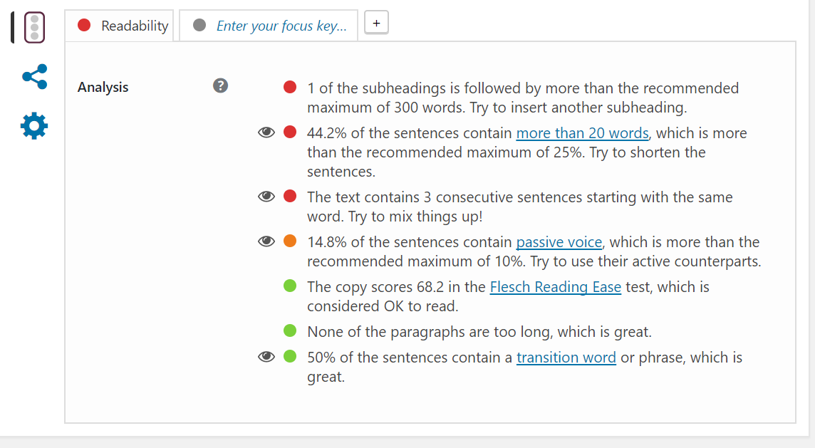 Screenshot of Yoast's Readability tab