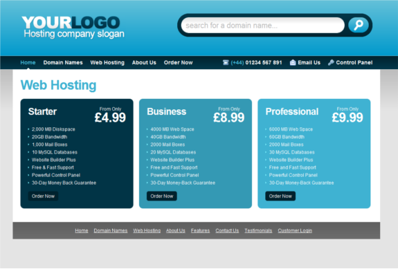 Free web hosting CSS/ HTML template (plus newsletter template ...