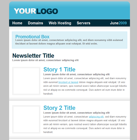 Free Web Hosting CSS HTML Template Plus Newsletter Template - Newsletter html template