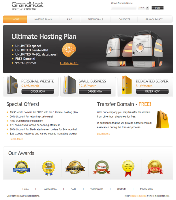 Reseller Hosting Templates Grand Host Template